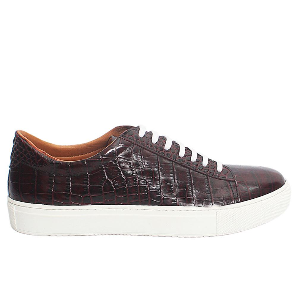 Burgundy Giusto Croco Italian Leather Sneakers