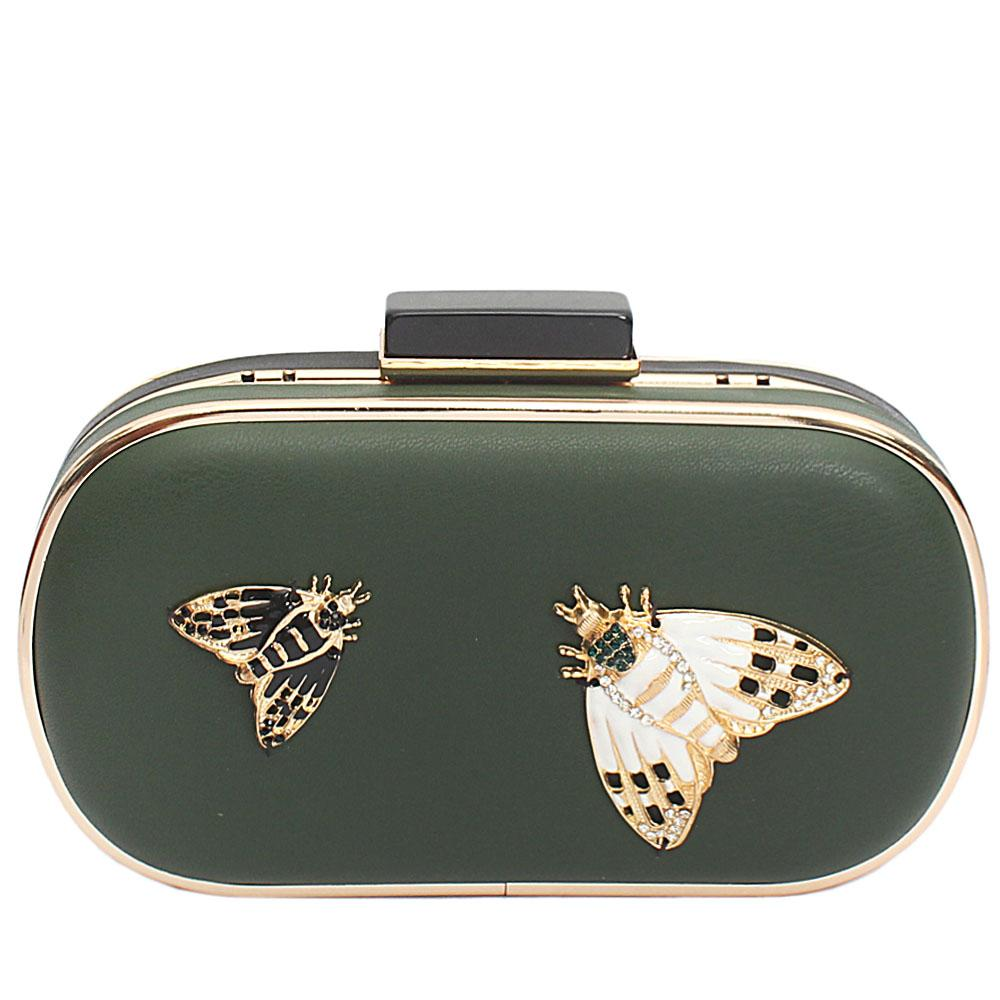 Green Black Leather Butterfly Premium Hard Clutch