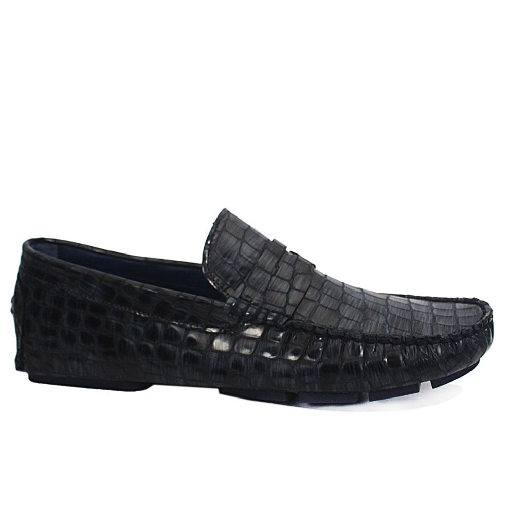 Gen Blue Croc Patent Leather Drivers Shoe