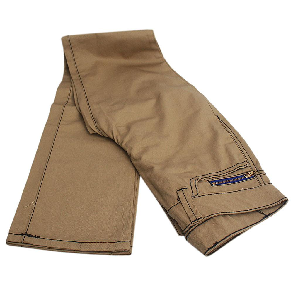 Carton Brown Cotton Zipped Ladies Chinos Trouser-W24, L41