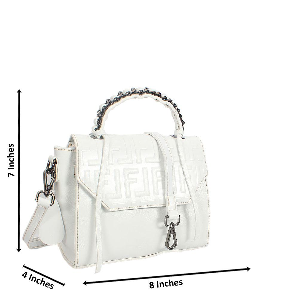 White Fiona Embossed Shinig Montana Leather Mini Top Handle Bag