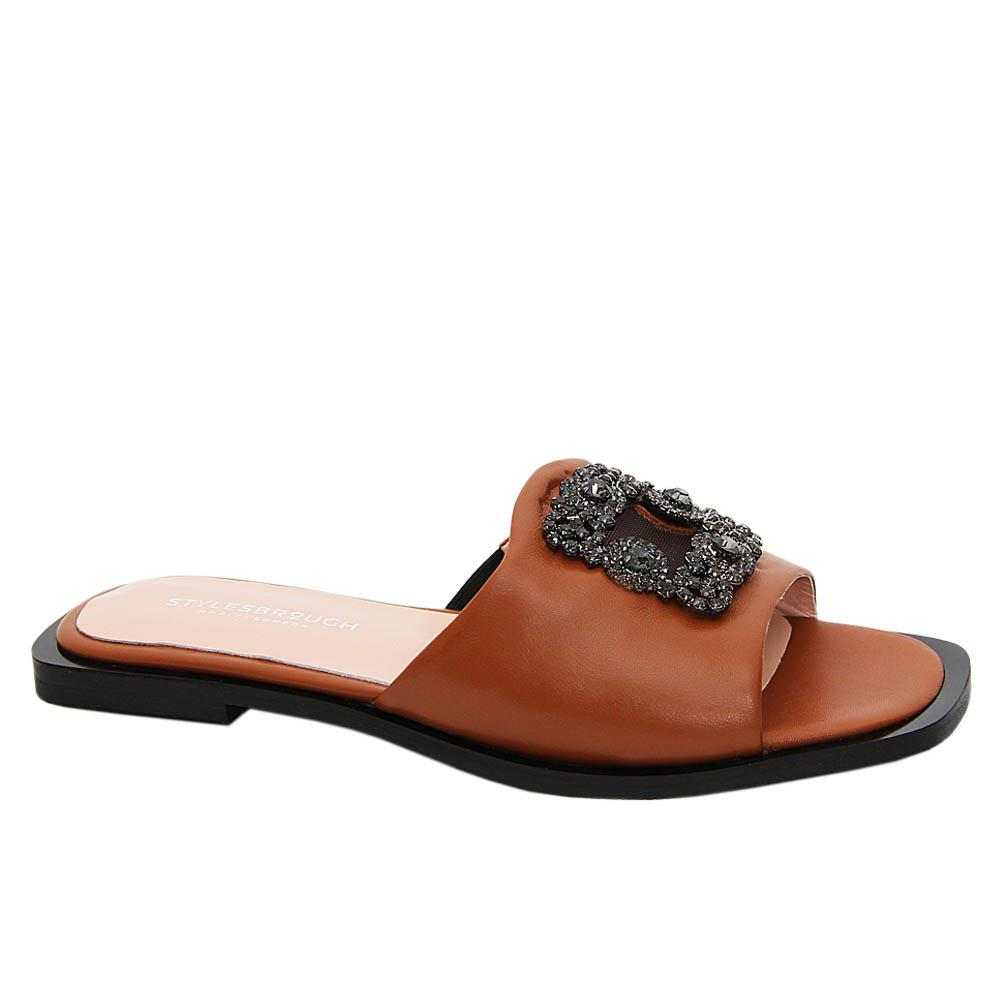 Brown Nicole Tuscany Leather Women Flat Slippers