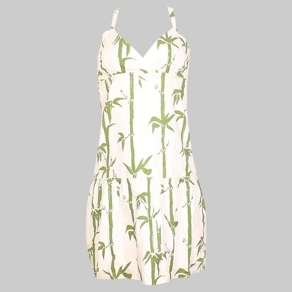 Elegant White-Green Floral Pattern Dress - S