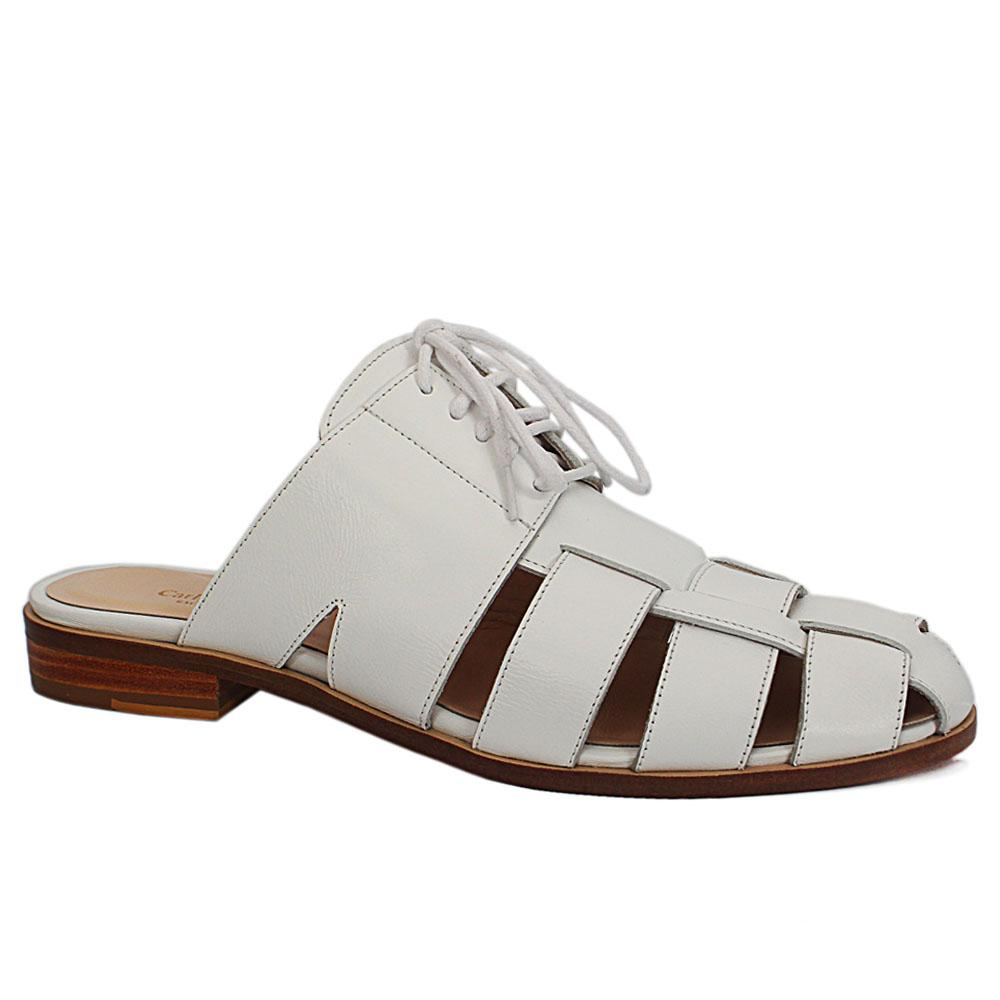 Carlo D White Imp leather Half Shoe