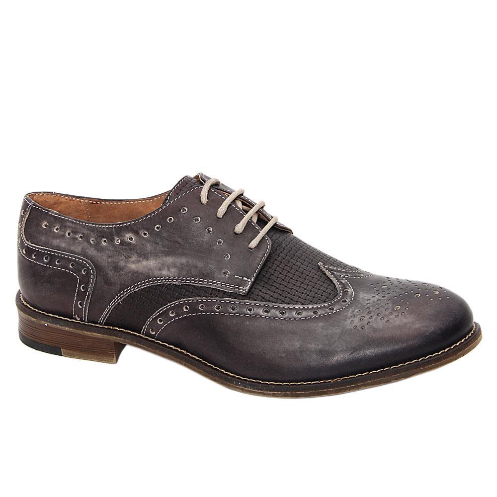 Gray Livio Italia Leather Men Derby Shoes