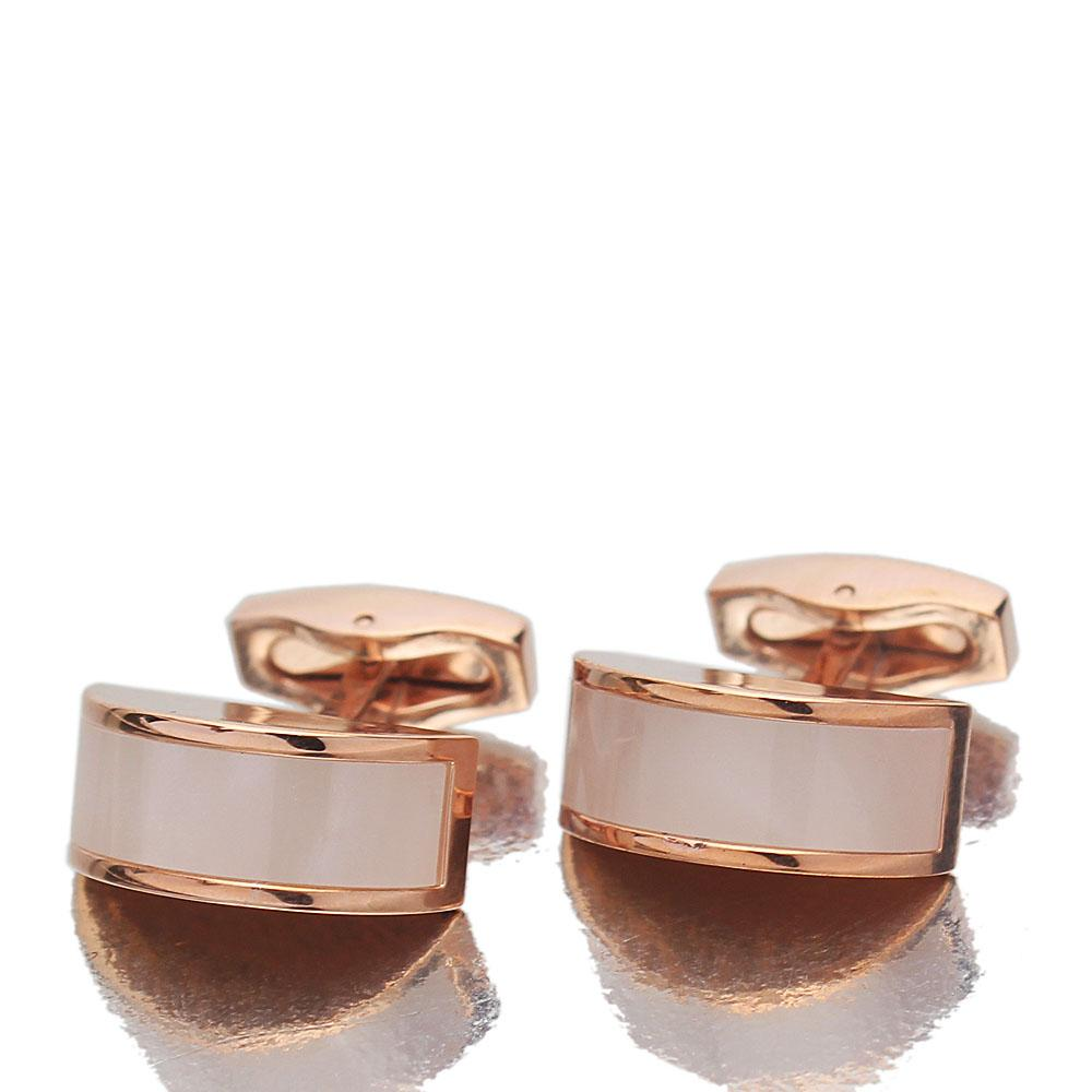 Rose Gold Pearl Stainless Steel Cufflinks