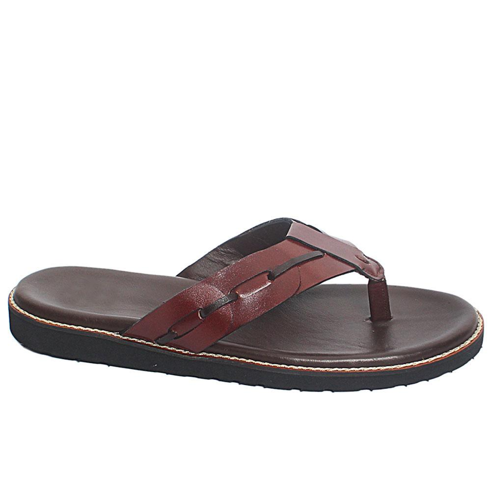 Coffee Priore Leather Men Slippers