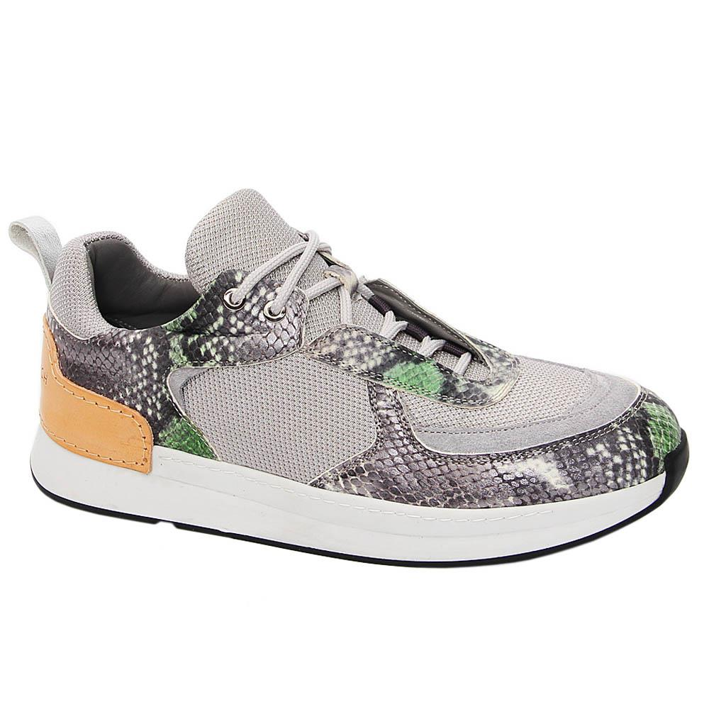 Gray Russell Mix Fabric Italian Leather Sneakers