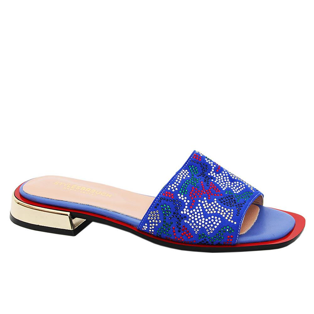 Blue Elisa Studded Suede Tuscany Leather Low Heel Slippers