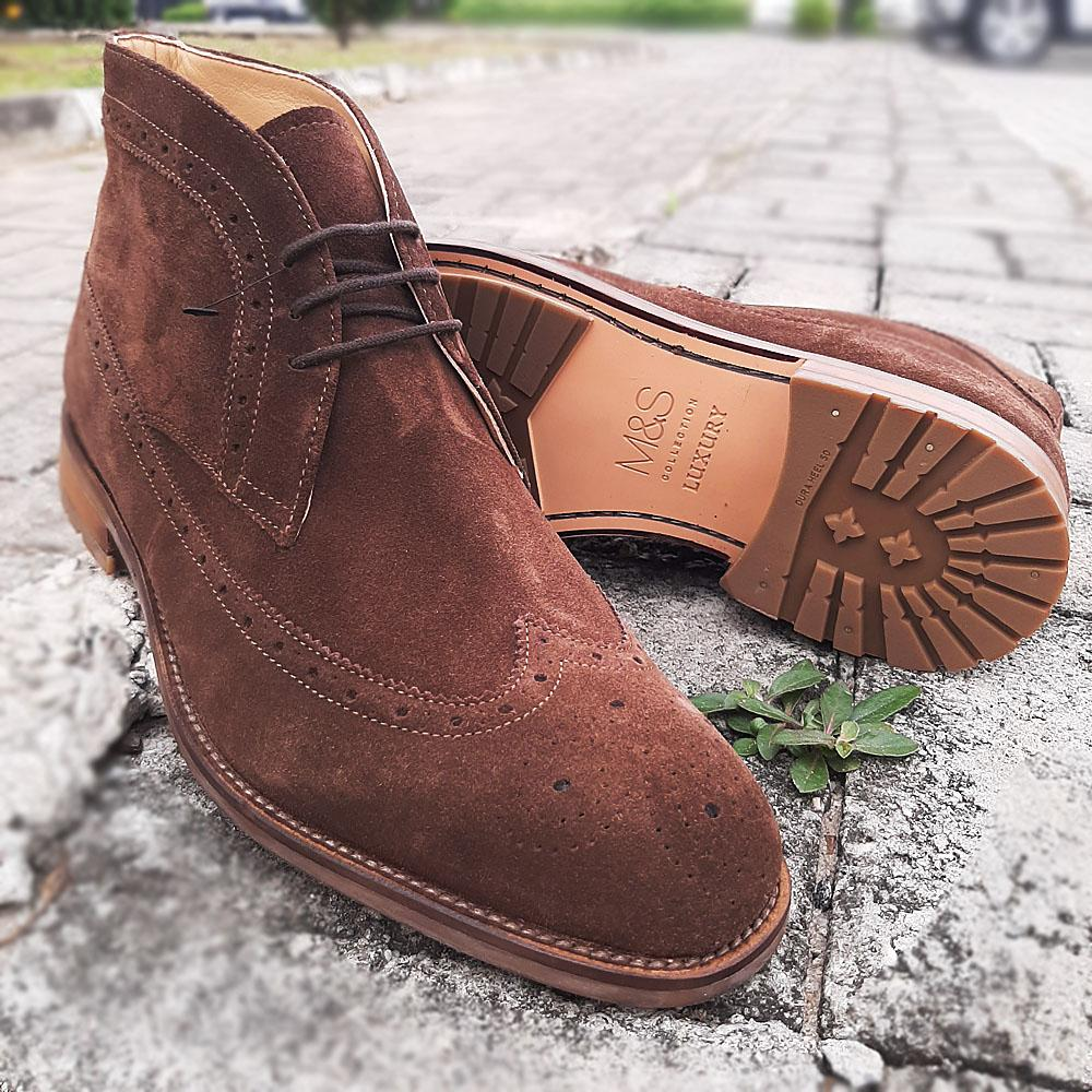 Coffee Suede Leather Men Ankle Boot