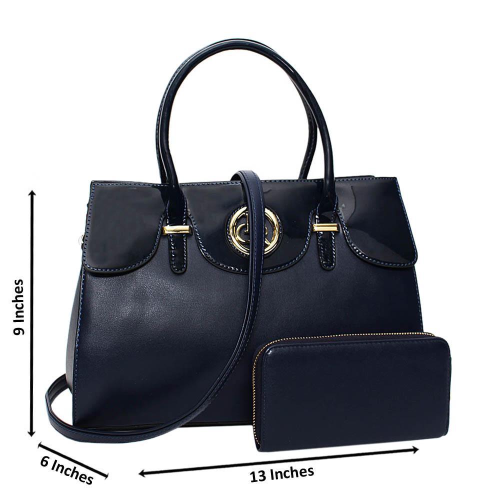 Navy Alexa Mix Leather Medium Tote Handbag