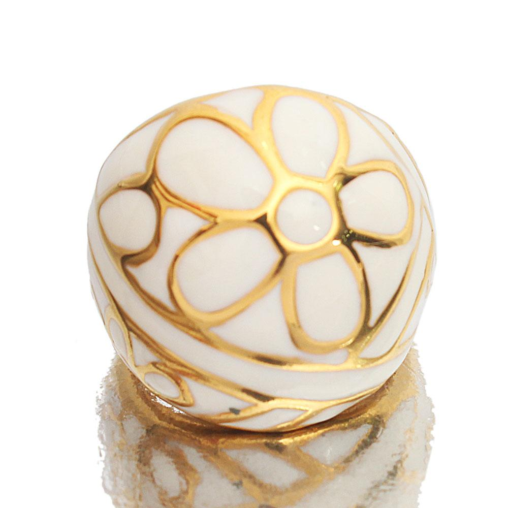 Gold Steel White Classic Ladies Ring Sz M