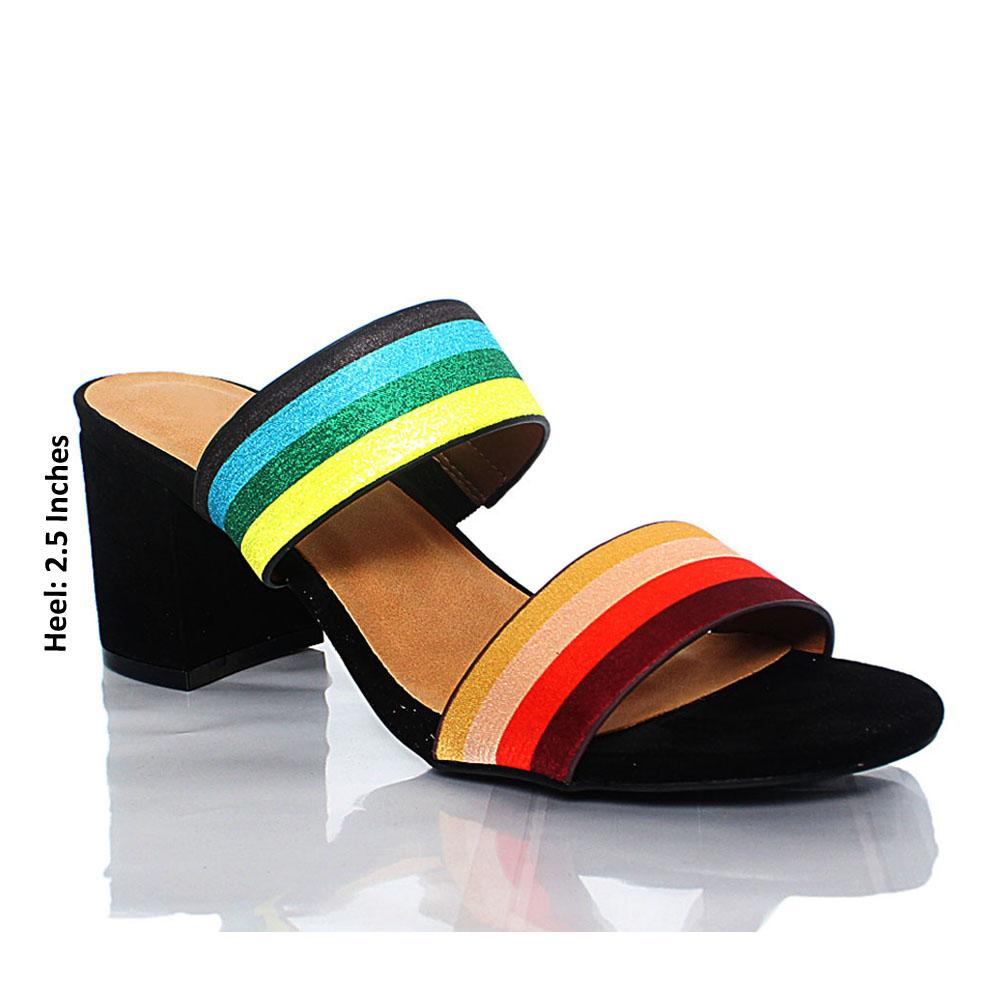 Multicolor Angela Suede Leather Block Heel Mule