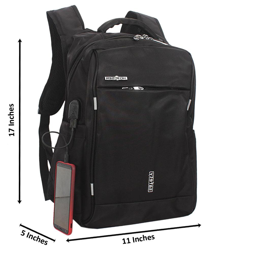 Black Waterproof Fabric Laptop Backpack wt USB Connector