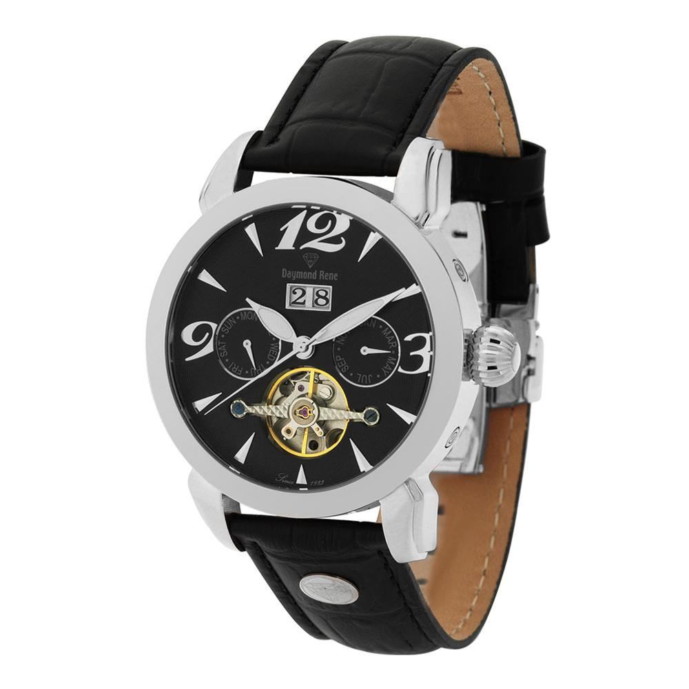 DR 10ATM Black Silver Leather Automatic Watch