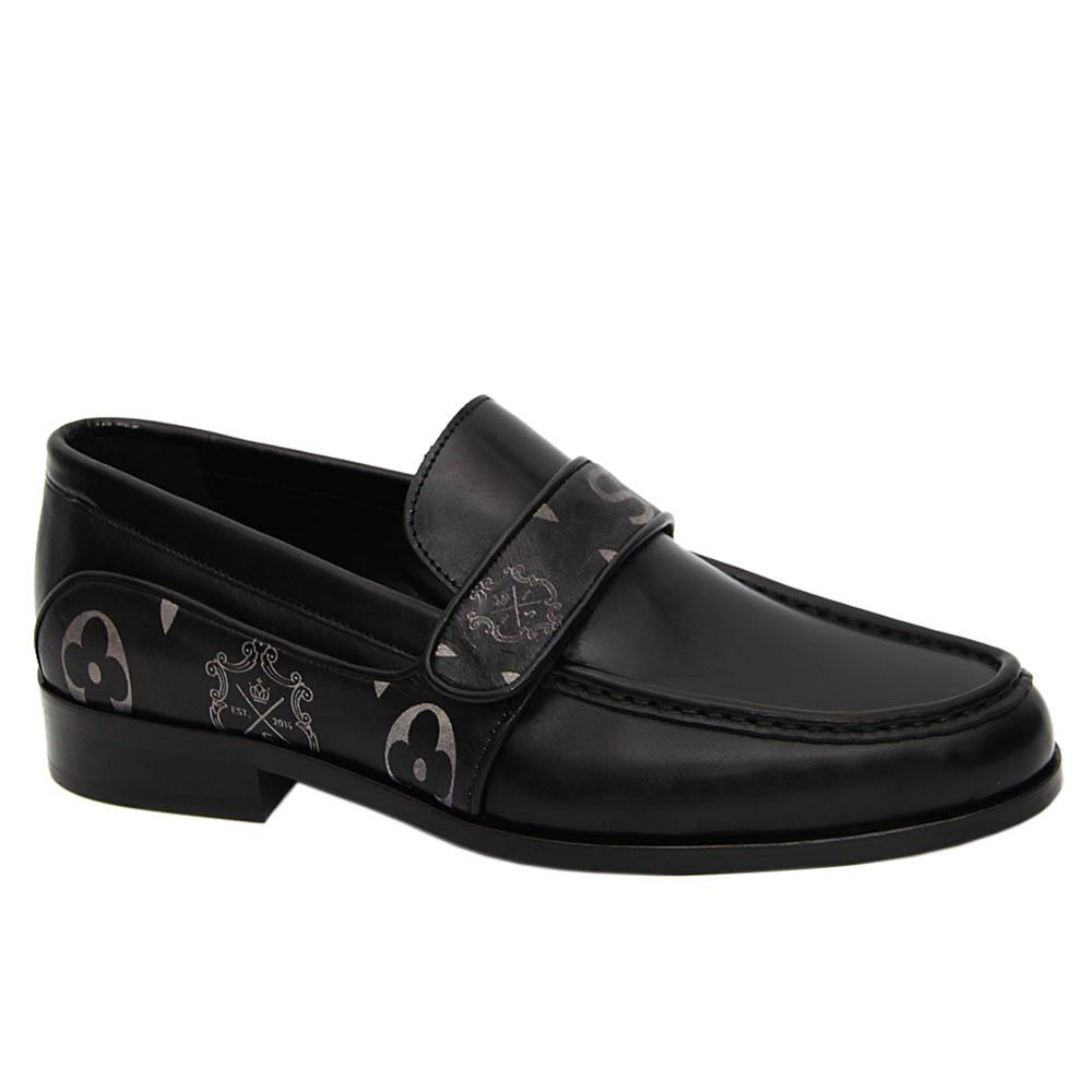Black Gustavo Italian Leather Penny Loafers