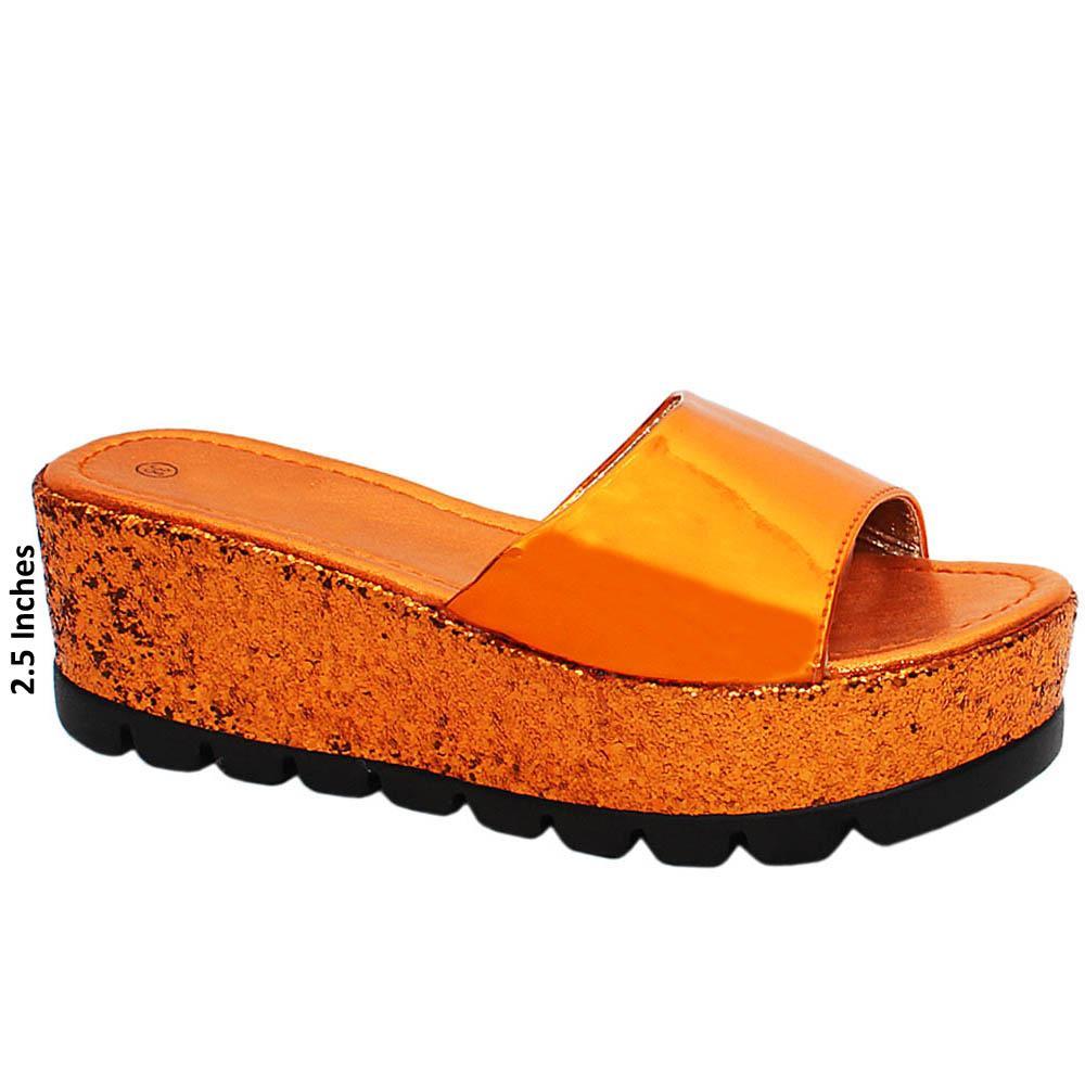 Orange Geneve Sequins Patent Leather Wedge Heels