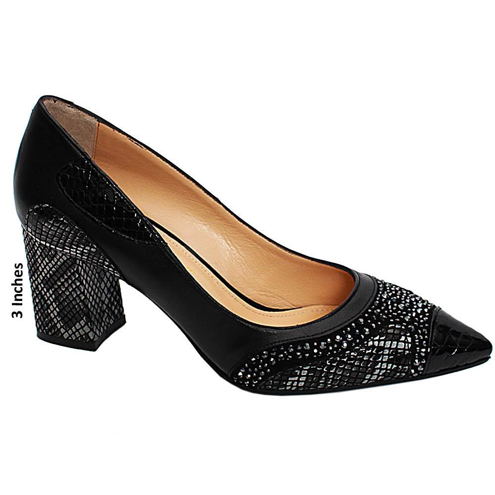 Black Snake Skin Studded Italian Leather Block High Pumps