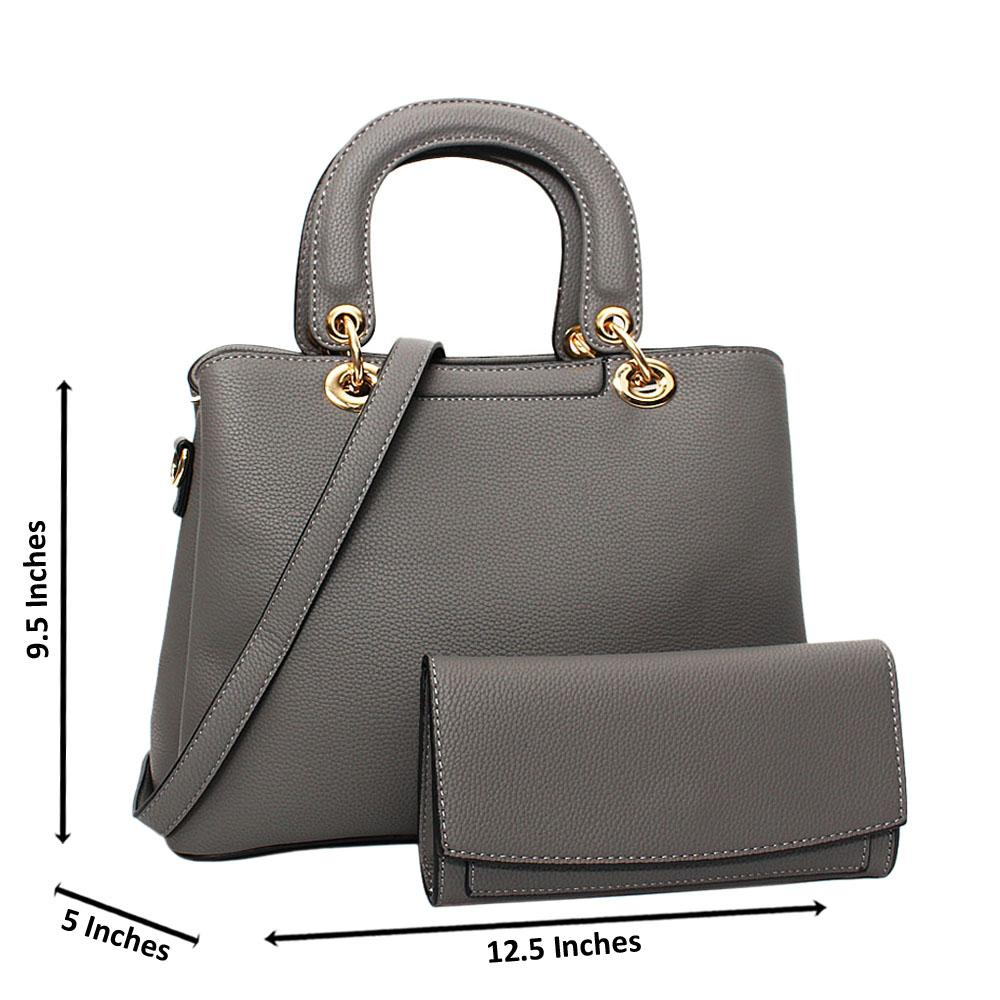 Gray Layla Leather Medium Tote Handbag