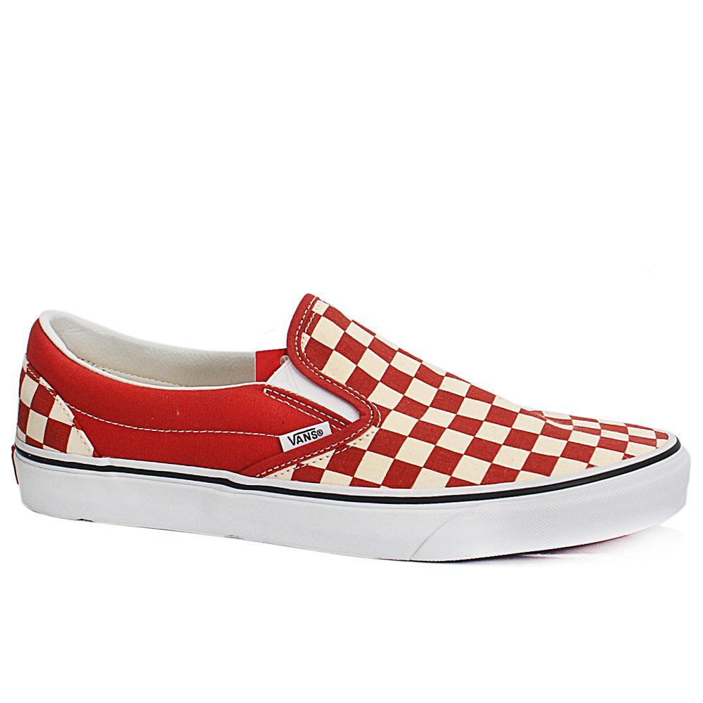 Sz 44 Vans Off The Wall Checkboard Orange Fabric Sneakers
