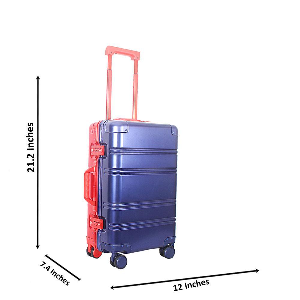 Blue Red 21 Inch Aluminium Carry On Luggage Wt TSA Lock