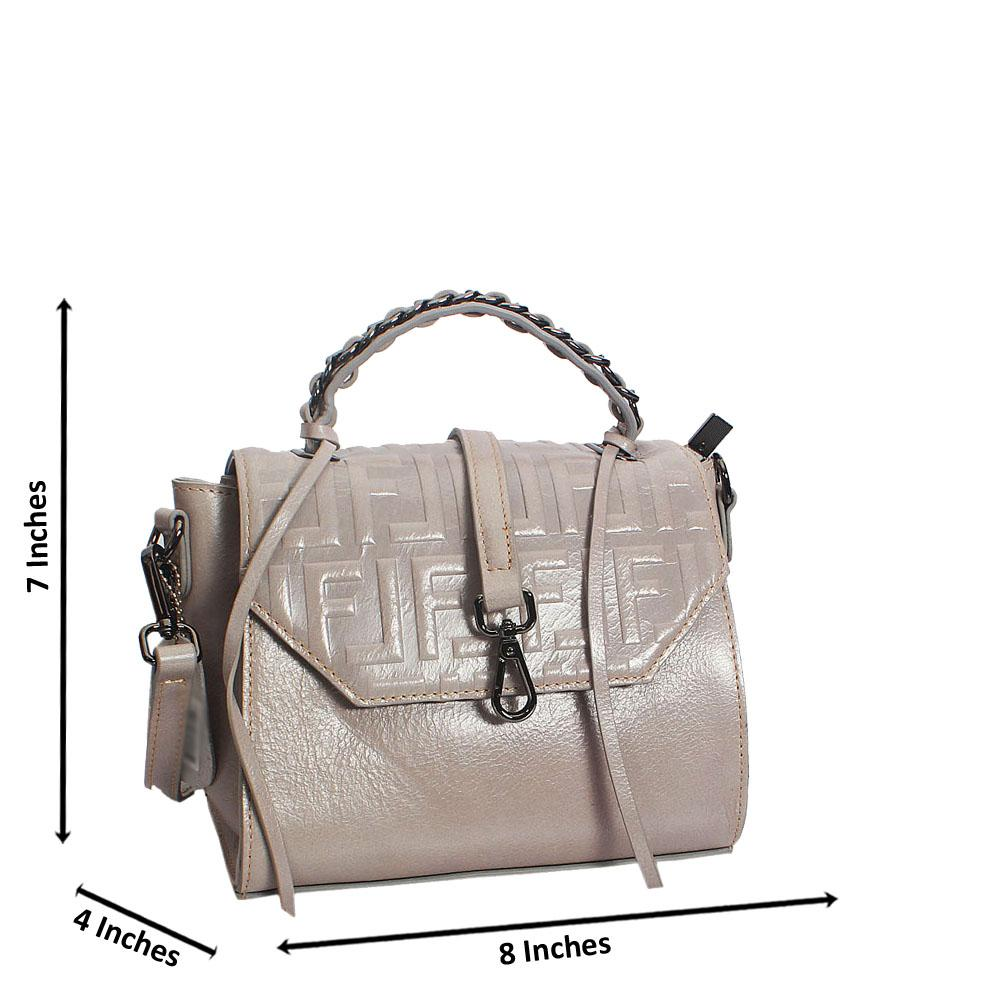 Grey Fiona Embossed Shining Montana Leather Mini Top Handle Bag