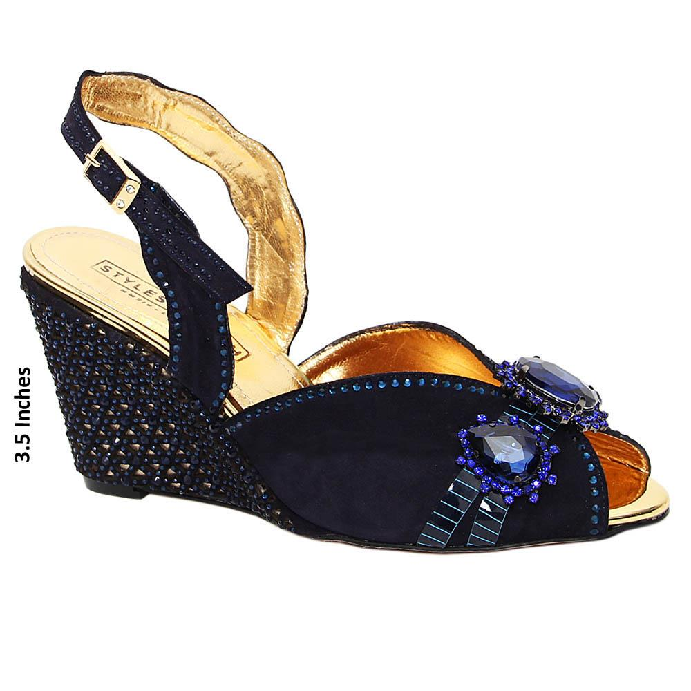 Navy Dulce Studded Suede Italian Leather Wedge Sandals