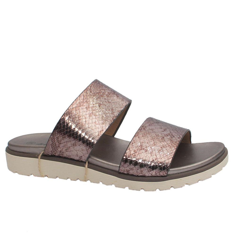 Sz 39 Xti Bronze Animal Print Leather Ladies Slip on Slippers