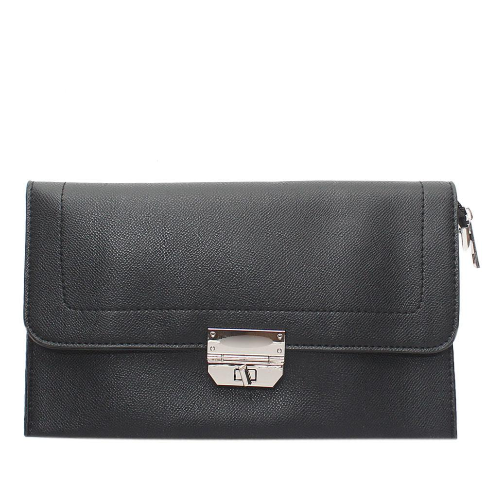 Black Nefelia Leather Flat Purse