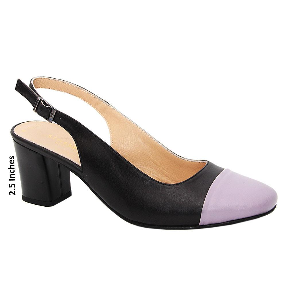 Black Lilac Isabel Tuscany Leather Mid Heel Slingback Pumps