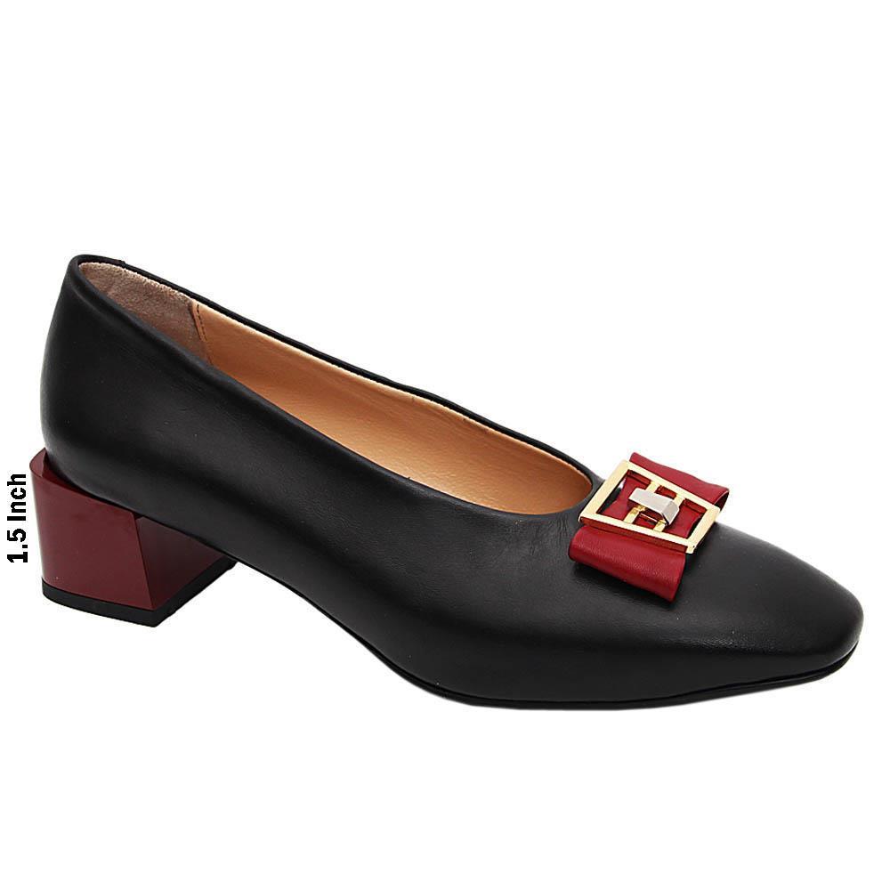 Black Wine Jenna Italian Leather Mid Heel Pumps