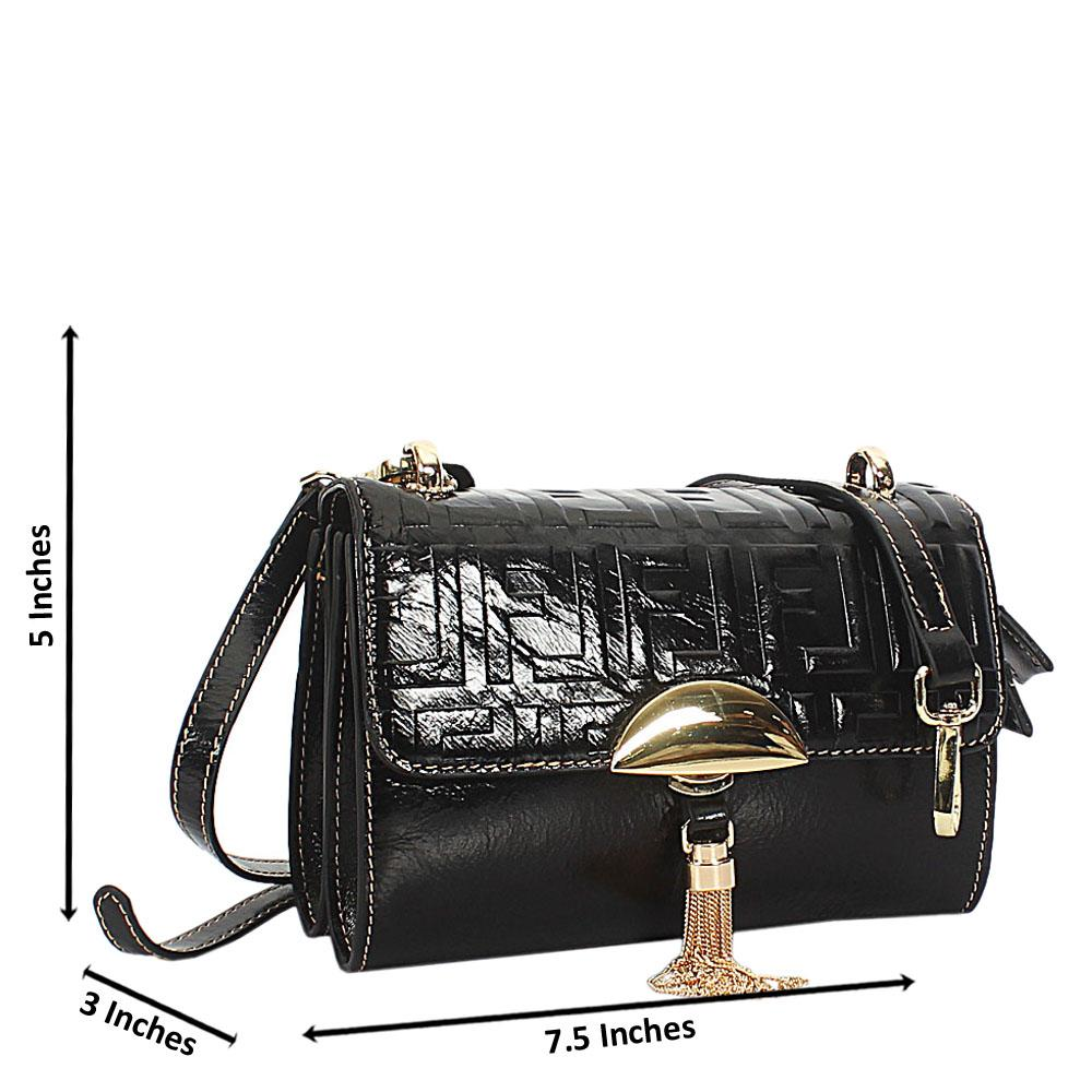 Black Embossed Shining Montana Leather Crossbody Handbag