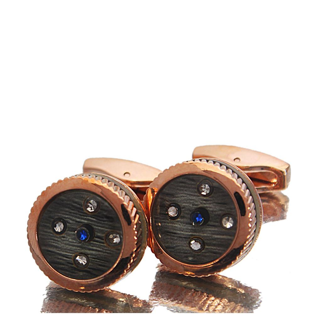 Rose Gold Etched StoneStainless Steel Cufflinks