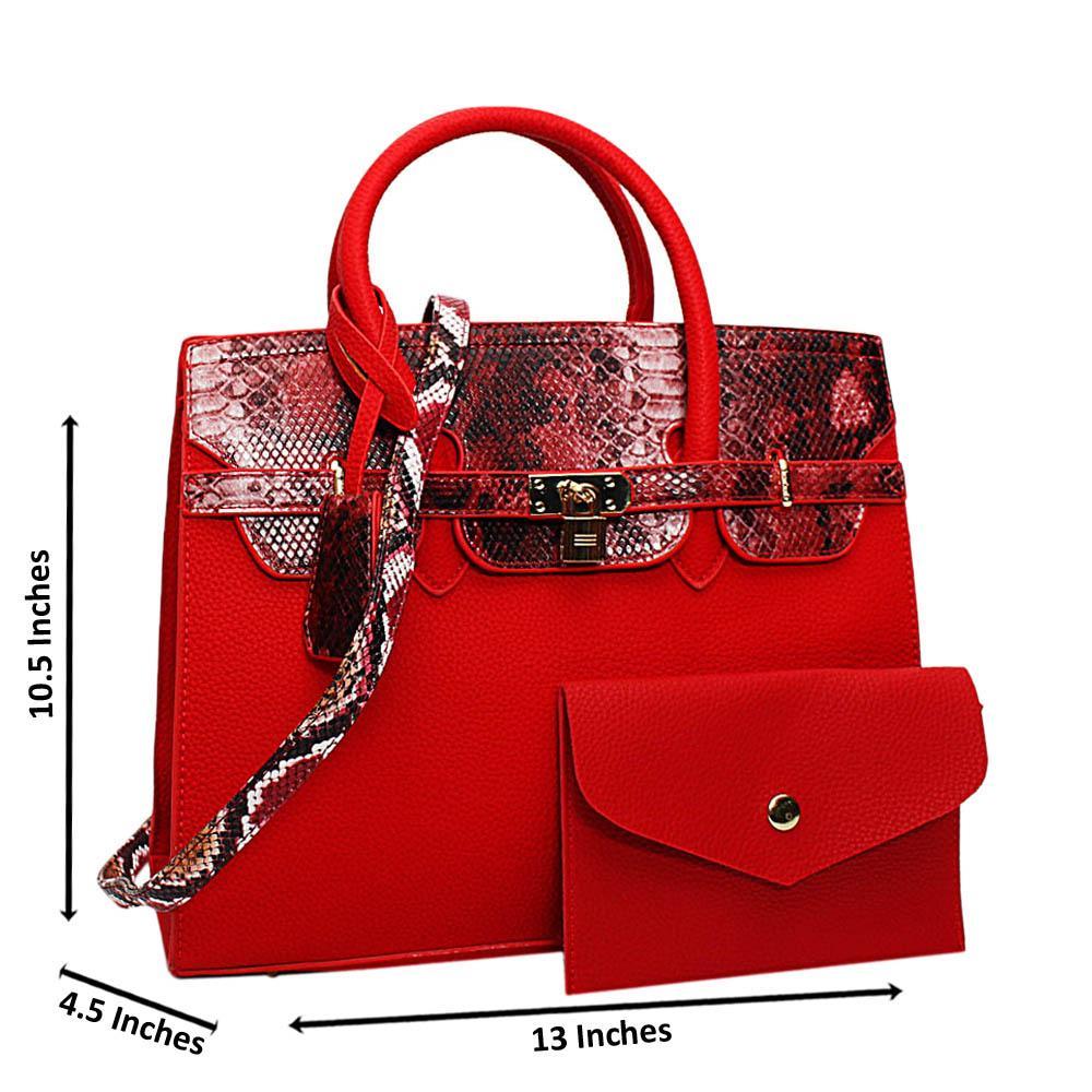 Red Oakley Mix Snake Leather Medium Tote Handbag