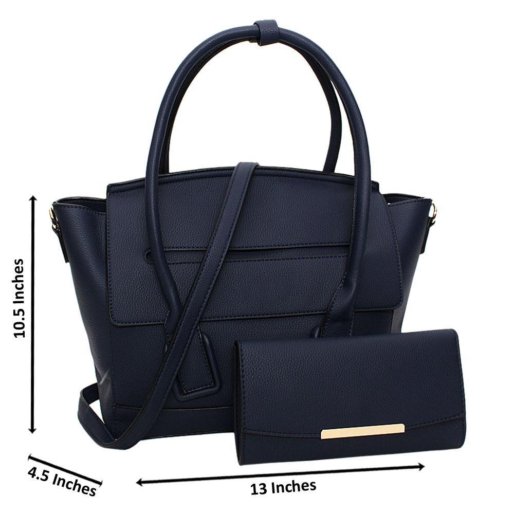 Navy Eliena Leather Medium Tote Handbag
