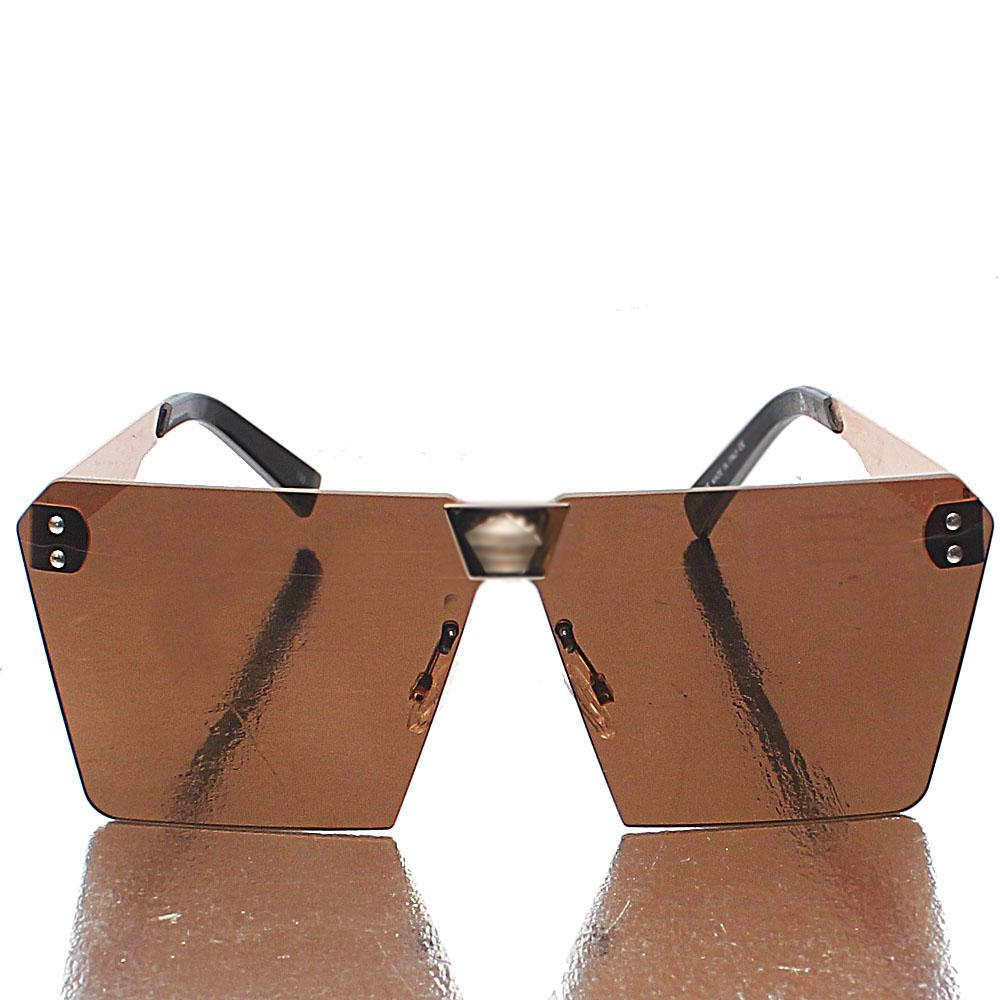 Gold Square FBrown Lens Sunglasses