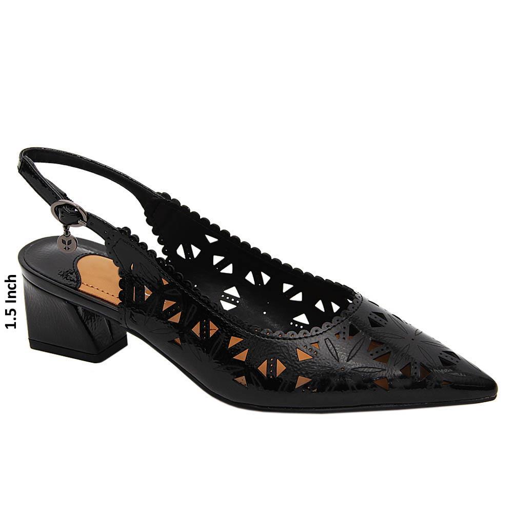 Black Gianna Patent Leather Low Heel Slingback Pumps