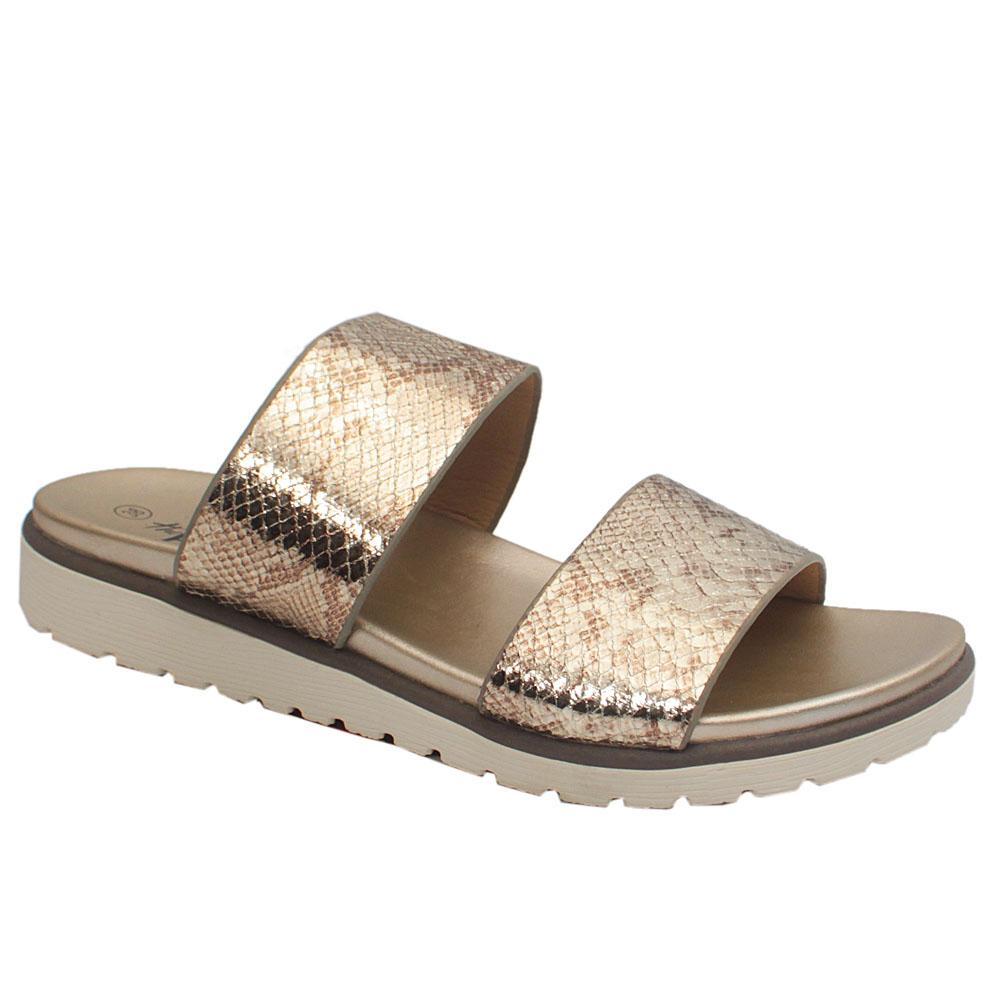 Sz 39 Xti Gold Animal Print Leather Ladies Slip on Slippers