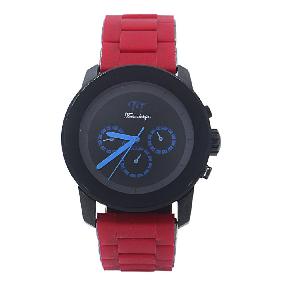 Design Red Rubber Black Steel Watch