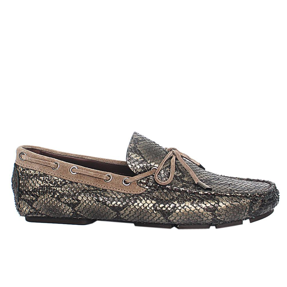 Metallic Gray Testa Snake Styled Leather Loafers