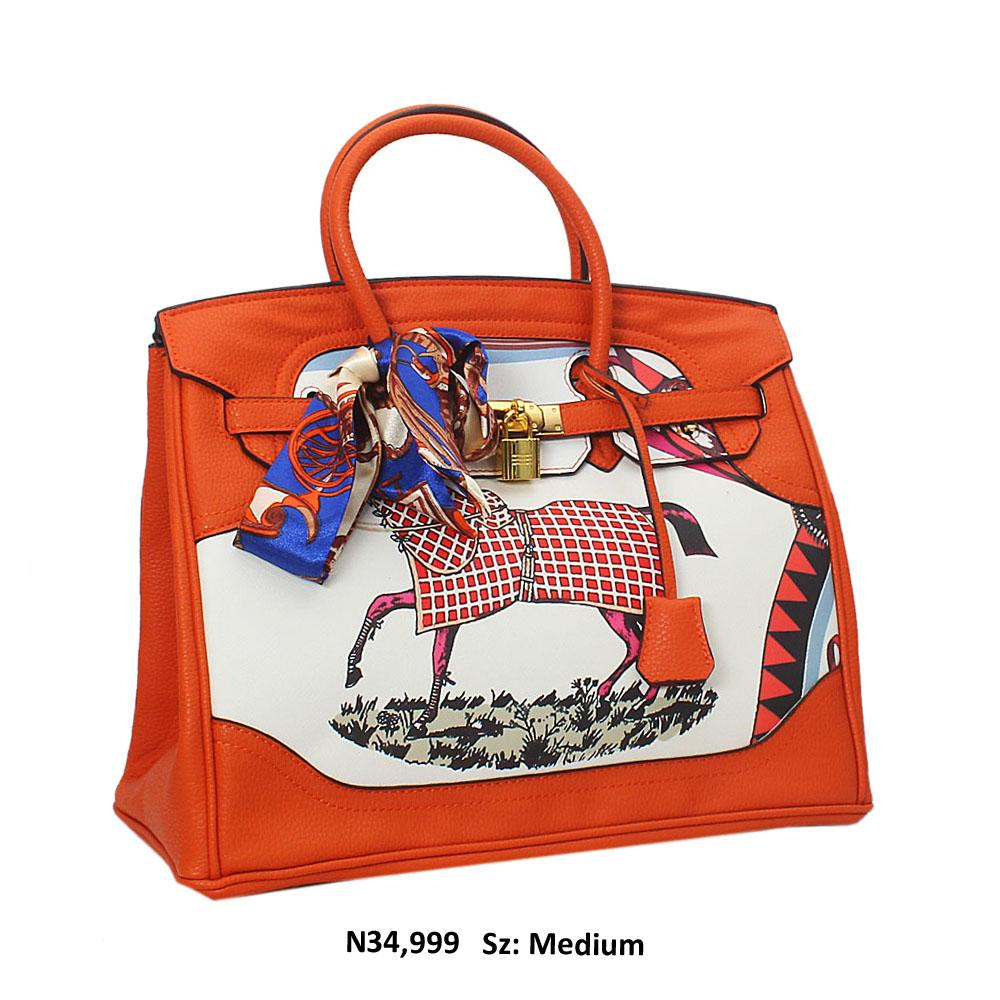 Orange Horse Graphic Leather Tote Handbag