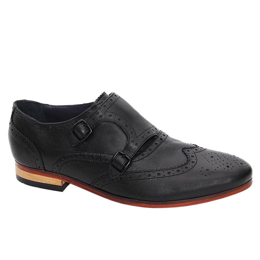 Black BB Leather Men Monk Strap Shoes