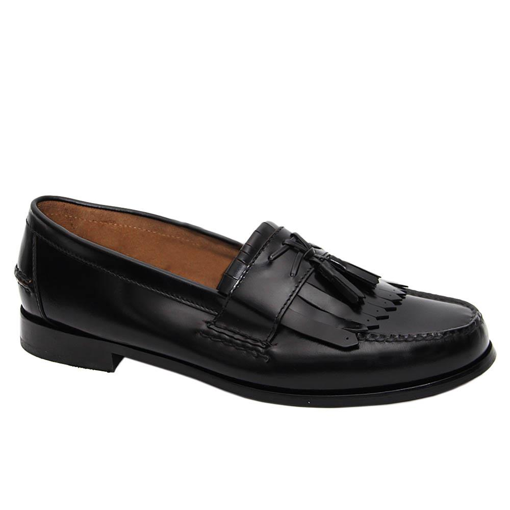 Black Roy Leather Fringe Tassel Loafers