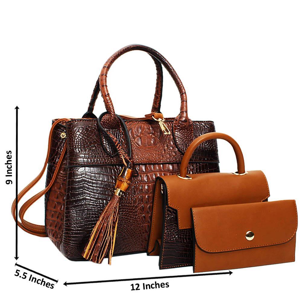 Coffee Brown Aliah Croc Leather Medium 3 in 1 Tote Handbag