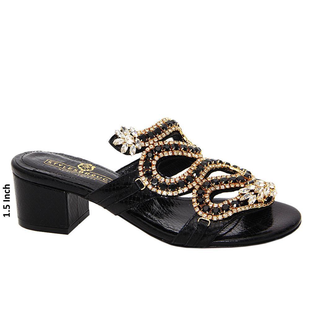Black Kamilah Studded Italian Leather Mid Heel Mule