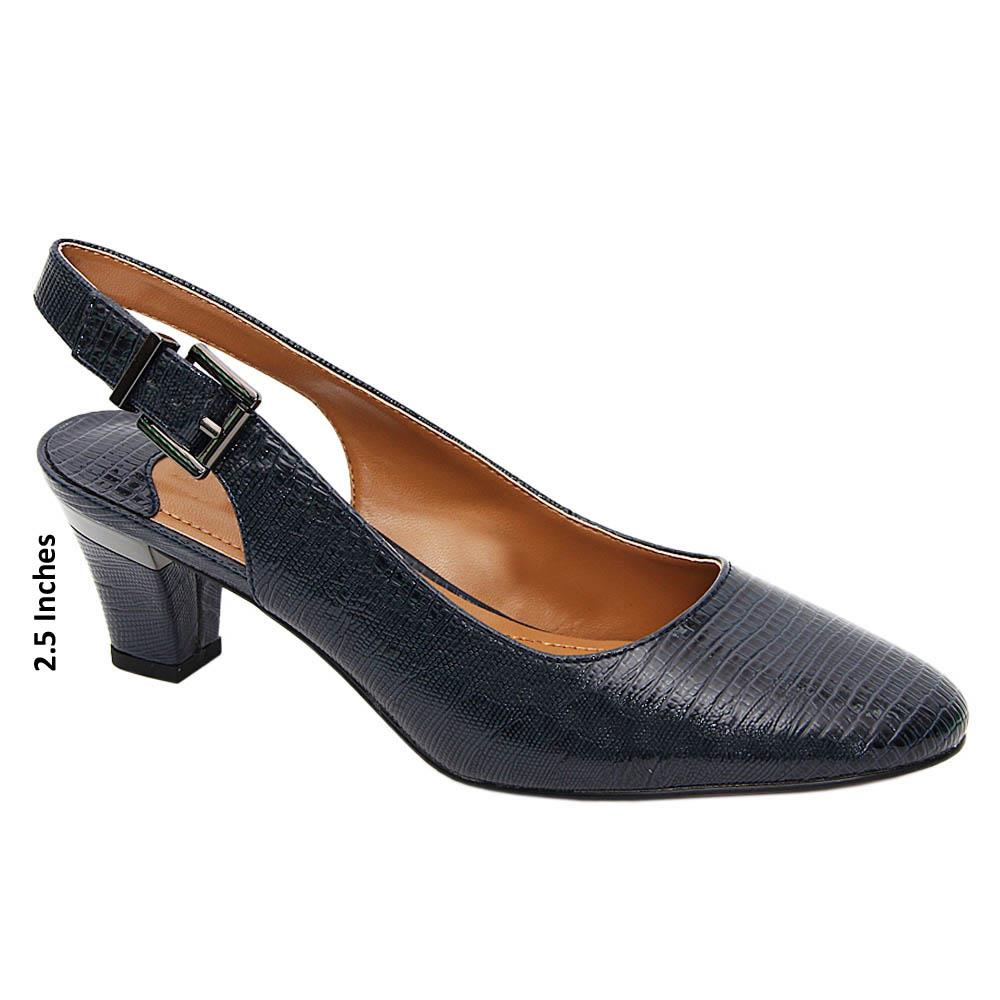 Navy Estella Leather Mid Heel Slingback Pumps