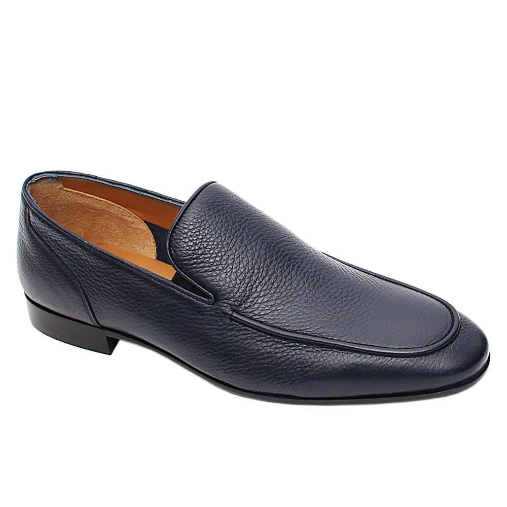 Navy Blue Renardo Italian Leather Loafers