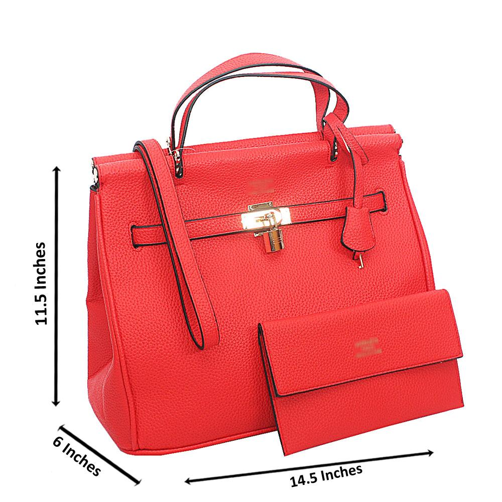 Red Cow-Leather Tote Handbag