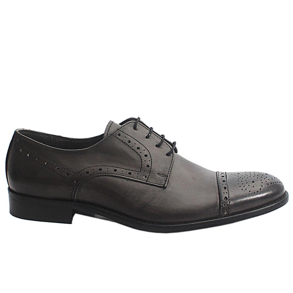 Blackish Gray Cesare Italia Leather Men Shoe