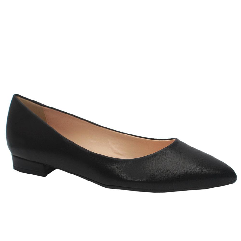 Sz 40 Mare Mare Black Leather Pointed Toe Flat Dress Shoes